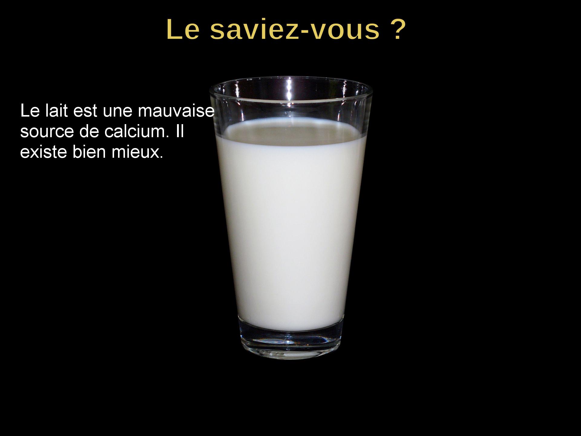 Le lait est une mauvaise source de calcium