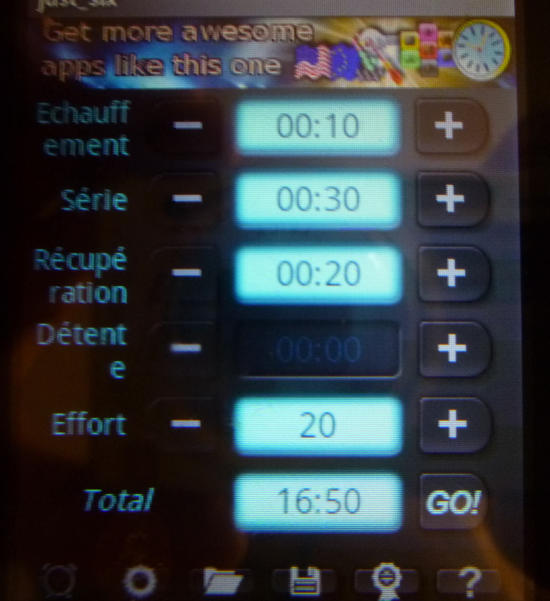 Application android HIT interval training timer